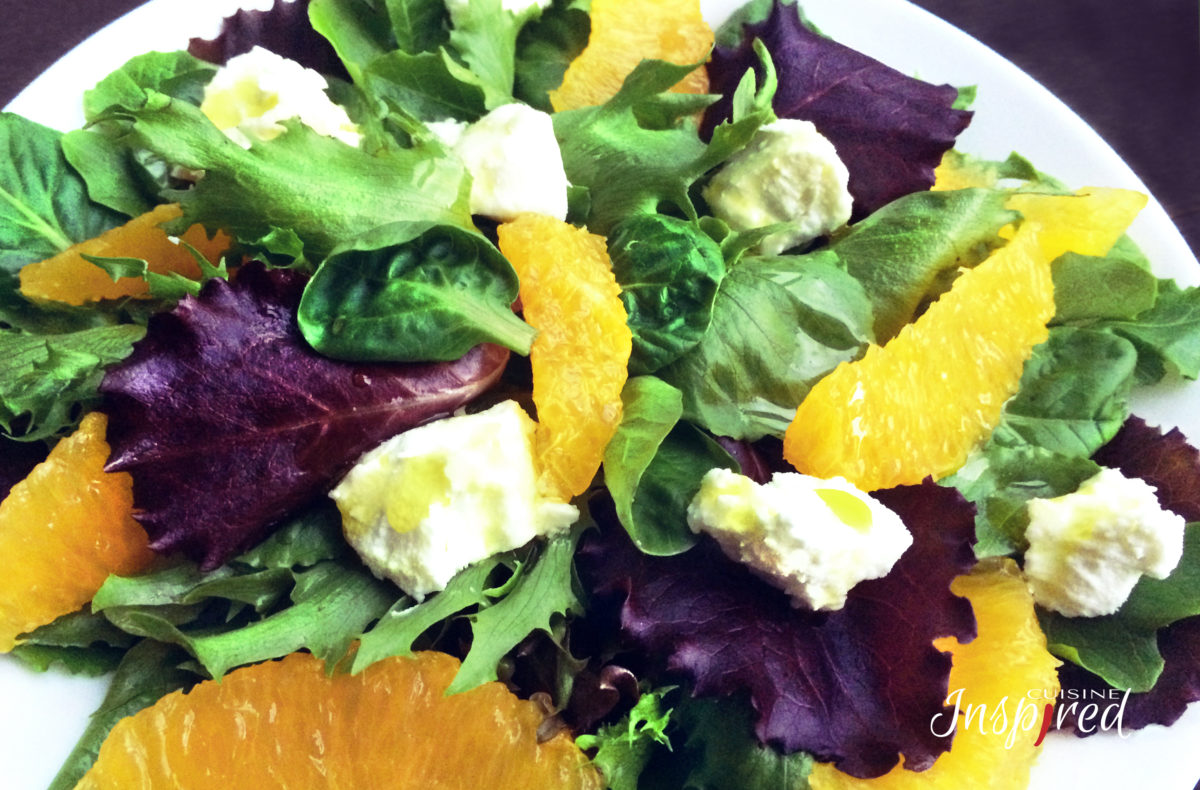 Baby Lettuce, Orange & Goat Cheese Salad