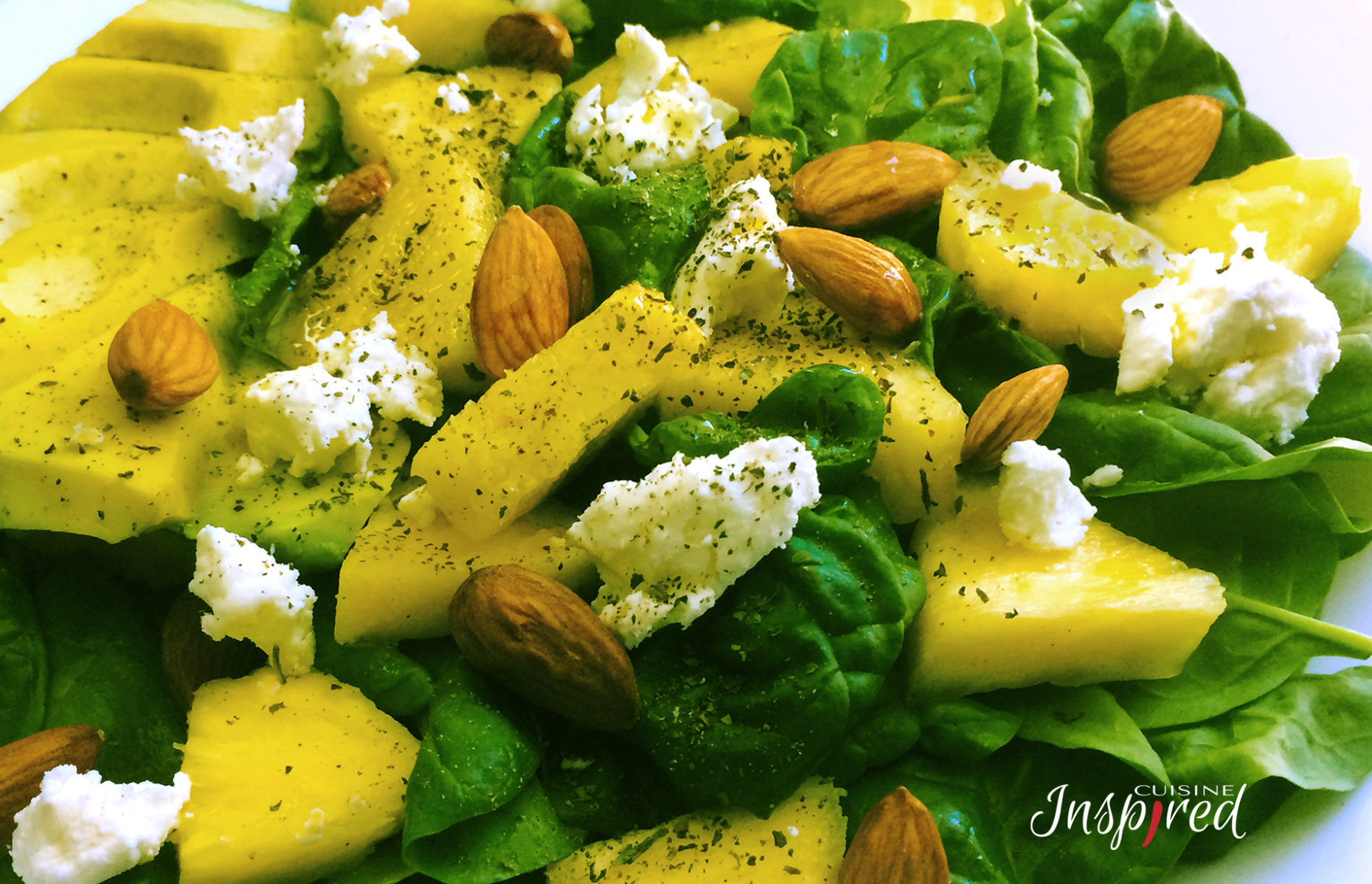 Baby Spinach, Avocado, Pineapple and Almond Salad with Goat Cheese and Simple Vinaigrette dressing